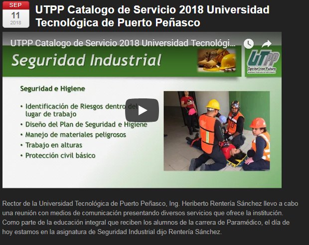 UTPP Catalogo de Servicio 2018 Universidad Tecnológica de Puerto Peñasco